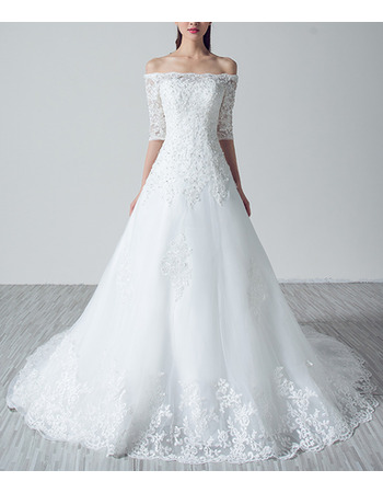 2018 New Off-the-shoulder Organza Wedding Dresses with Half Sleeves