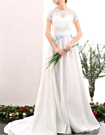 Discount Long Satin Wedding Dress with Lace Shirt Blouse and Belt
