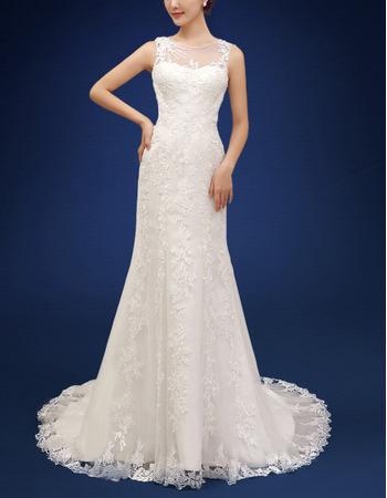 Inexpensive Sheath Sleeveless Court Train Organza Wedding Dresses