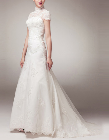 Vintage Mandarin Collar Short Sleeves Sweep Train Organza Wedding Dress