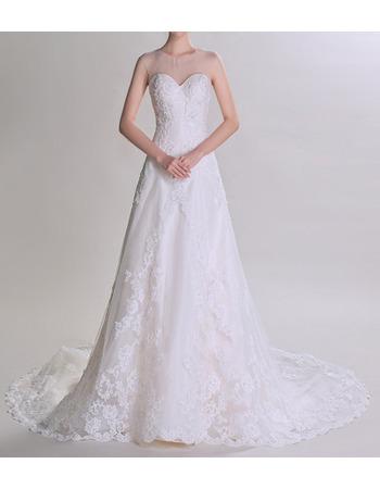 Custom Sweetheart Sheer Neckline Court Train Tulle Wedding Dresses