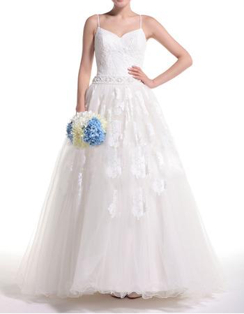 Affordable Ball Gown Spaghetti Straps Full Length Wedding Dresses