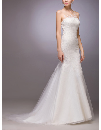 Sexy Sheath/ Column Sleeveless Sweep Train Tulle Satin Wedding Dresses