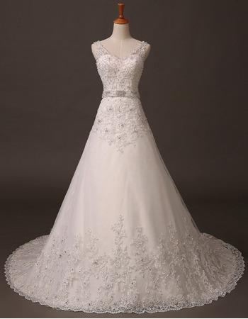 2018 New A-Line V-Neck Long Wedding Dresses with Applique and Beads