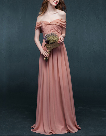 2019 New Style Off-the-shoulder Floor Length Chiffon Evening Dresses