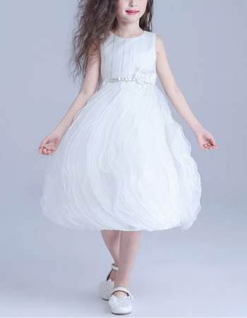 Custom Ball Gown Short Satin Tulle Ruffle Skirt Flower Girl Dresses