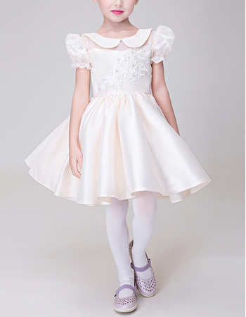 2018 A-Line Lapel Short Satin Flower Girl Dress with Bubble Sleeves