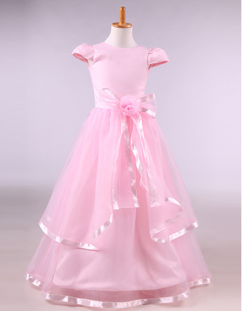 Custom Floor Length Satin Pink Flower Girl Dresses with Cap Sleeves