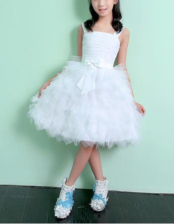 Adorable Knee Length Ruffle Skirt Flower Girl Dresses with Straps