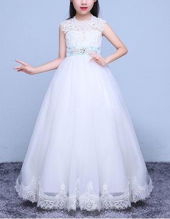 Discount Ball Gown Floor Length Applique Flower Girl Dress with Belt