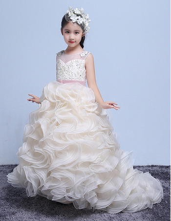 Adorable Sweep Train Ruffle Skirt Flower Girl Dresses with Belts