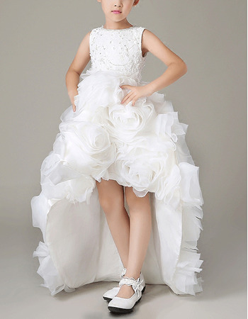 Inexpensive High-Low Organza Floral Skirt Flower Girl Dresses