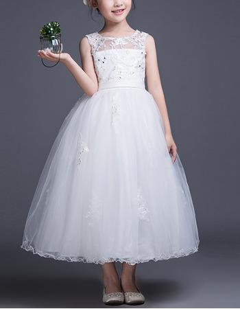 Stunning Ball Gown Sleeveless Tea Length Organza Flower Girl Dresses