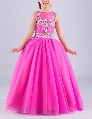 Custom Ball Gown Sleeveless Floor Length Organza Flower Girl Dresses