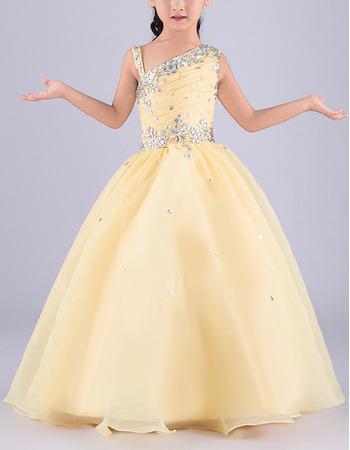 Custom Ball Gown Asymmetric Sleeveless Floor Length Flower Girl Dress