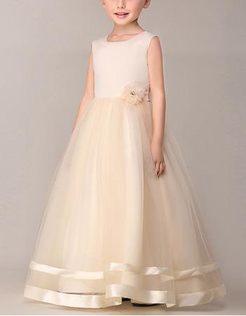 Discount Ball Gown Sleeveless Long Satin Organza Flower Girl Dresses