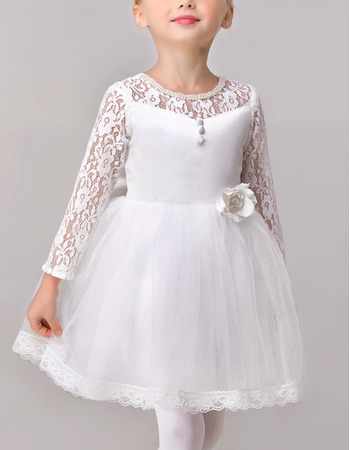 Adorable Ball Gown Short Satin Flower Girl Dresses with Lace Sleeves