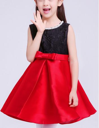 Custom A-Line Sleeveless Short Lace & Satin Flower Girl Dresses