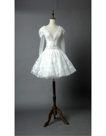 Discount V-Neck Short Organza Wedding Dresses with Long Sleeves