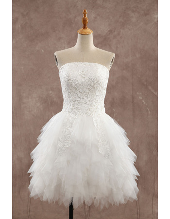 Informal Strapless Short Organza Ruffle Skirt Wedding Dresses