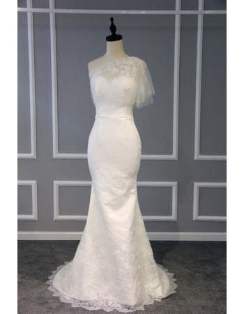 2019 Style Sheath One Shoulder Sweep Train Lace Wedding Dresses