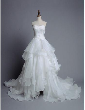 Inepxensive Sweetheart Sweep Train Organza Layered Skirt Wedding Dress