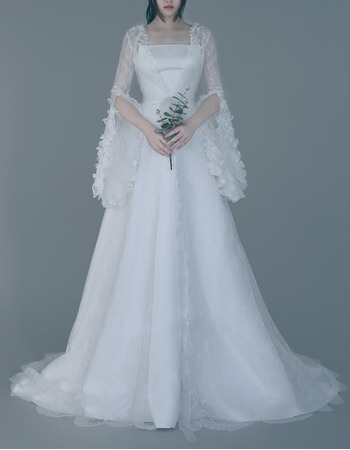 2018 Style Strapless Sweep Train Wedding Dresses with Lace Sleeves