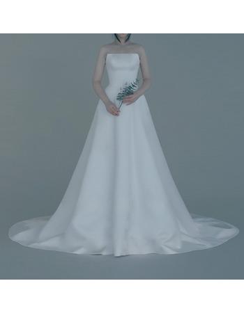 Custom A-Line Strapless Sleeveless Sweep Train Satin Wedding Dresses