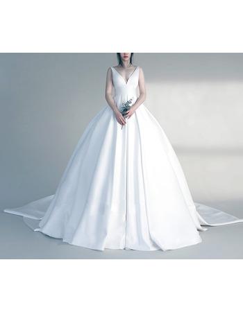 Sexy Ball Gown V-Neck Sleeveless Court Train Satin Wedding Dresses