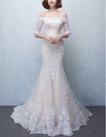 2018 Trumpet Off-the-shoulder Wedding Dresses with 3/4 Long Sleeves
