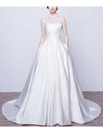 Elegant High-Neck Sleeveless Satin Wedding Dresses with Pockets