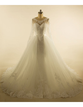 Discount Ball Gown Chapel Train Tulle Wedding Dresses with Long Sleeves