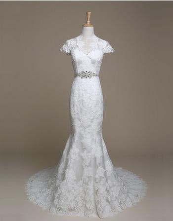 Elegant Sheath Sweep Train Lace Wedding Dresses with Cap Sleeves