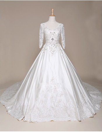 2018 New A-Line V-Neck Satin Wedding Dresses with 3/4 Long Sleeves