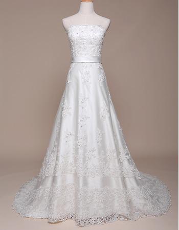 Custom A-Line Strapless Court Train Satin Applique Wedding Dresses