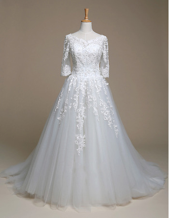 Inexpensive A-Line Court Train Wedding Dresses with 3/4 Long Sleeves