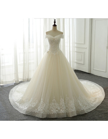 2018 New Off-the-shoulder Chapel Train Organza Wedding Dresses