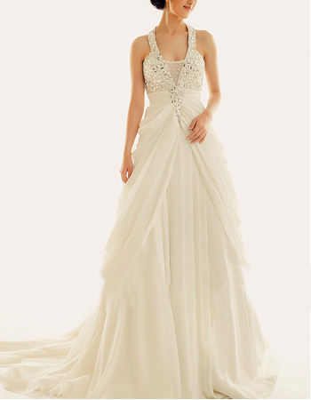 Sexy Halter V-Neck Sleeveless Chapel Train Chiffon Wedding Dresses
