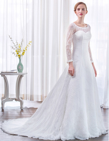 2018 Style Court Train Lace Wedding Dresses with Long Lace Sleeves