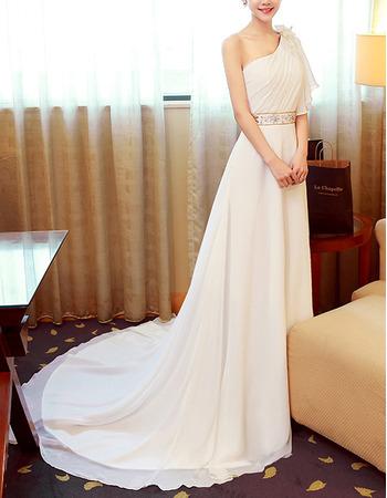 Discount One Shoulder Sweep Train Chiffon Asymmetric Wedding Dresses