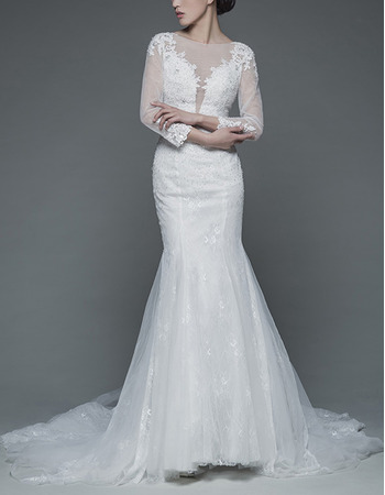 Sexy Mermaid Court Train Lace Wedding Dresses with Long Sleeves