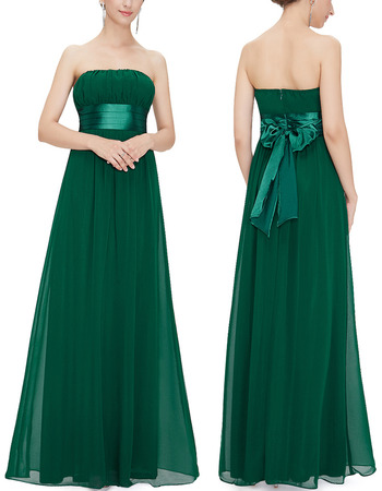 Discount Strapless Floor Length Chiffon Bridesmaid/ Wedding Party Dress