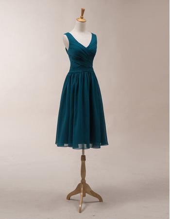 Vintage V-Neck Sleeveless Knee Length Chiffon Bridesmaid Dresses