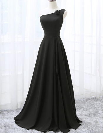 2018 New Style One Shoulder Floor Length Black Bridesmaid Dresses