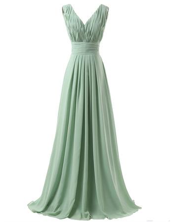 Elegant V-Neck Floor Length Chiffon Bridesmaid/ Wedding Party Dresses