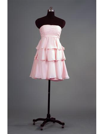 Custom Strapless Short Chiffon Layered Skirt Bridesmaid Dresses