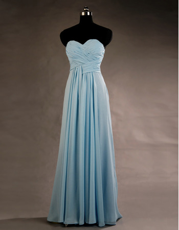 Vintage Sweetheart Floor Length Chiffon Lace-Up Bridesmaid Dresses