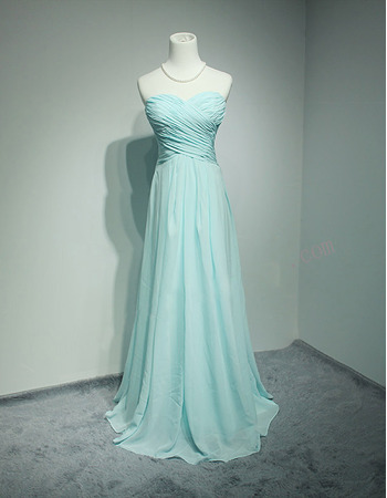Custom Sweetheart Floor Length Chiffon Pleated Bridesmaid Dresses