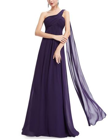 Elegant One Shoulder Floor Length Chiffon Bridesmaid/ Evening Dresses