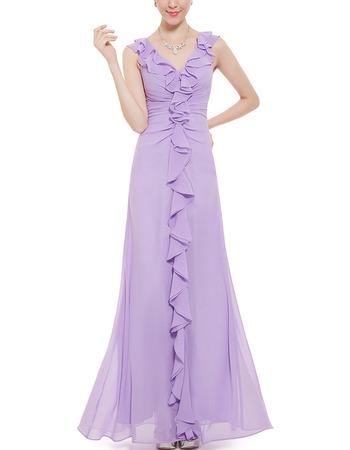 Custom V-Neck Sleeveless Floor Length Chiffon Ruffle Bridesmaid Dress